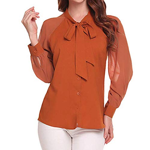 Misaky Women 's Bow Tie Long Sleeve Ladies Button Chiffon for sale  Delivered anywhere in USA