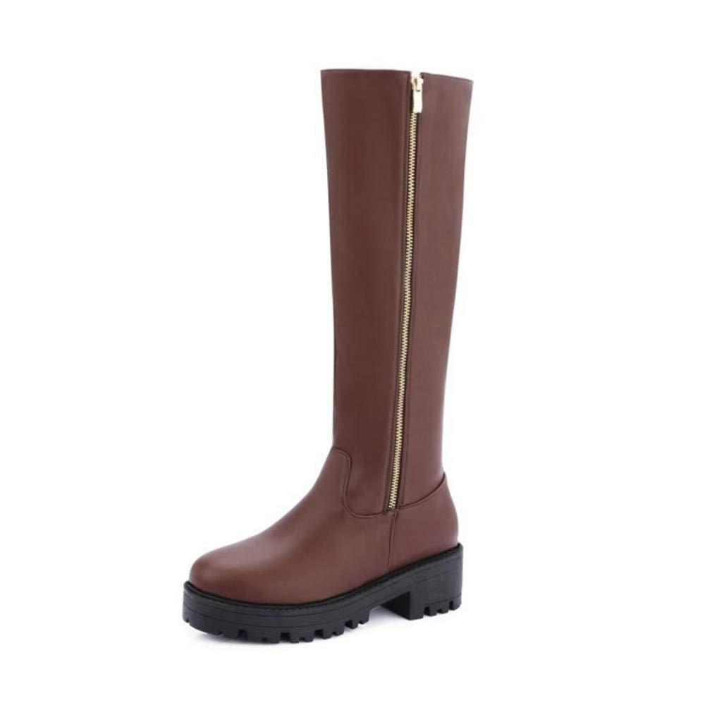 HAOLIEQUAN Frauen High Heels Stiefel Kniehohe Zippe Plateauschuhe Winter Warm High Heels Stiefel Frauen Punk Schuhe Größe 33-43