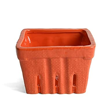 Creative Co-op Stoneware Berry Basket, Orange