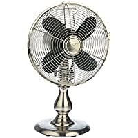 DecoBREEZE Oscillating Table Fan 3 Speed Air Circulator Fan, 10 In, Stainless Steel