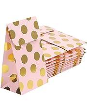 Belle Vous Roze & Gouden Polka Dot Folie Feest Geschenk Zakjes (24 Pak) – L9,3 x B6,5 x H15,2 cm – Feest Geschenk Goodie Bad – Verjaardags Feestjes, Huwelijken, Vieringen & Babyshowers