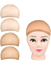 4 Pack Stocking Wig Caps, Reayou Nude Stocking Caps For Wigs, Stretchy Nylon Wig Caps for Women, Girls, Kids