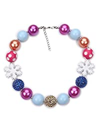 Vcmart Chunky Bubblegum Beads Girls Necklace Christmas Jewelry with Gift Box