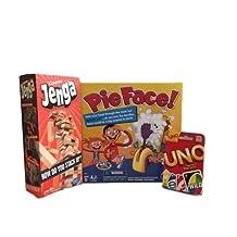 Pie Face, Jenga & Uno Game Bundle