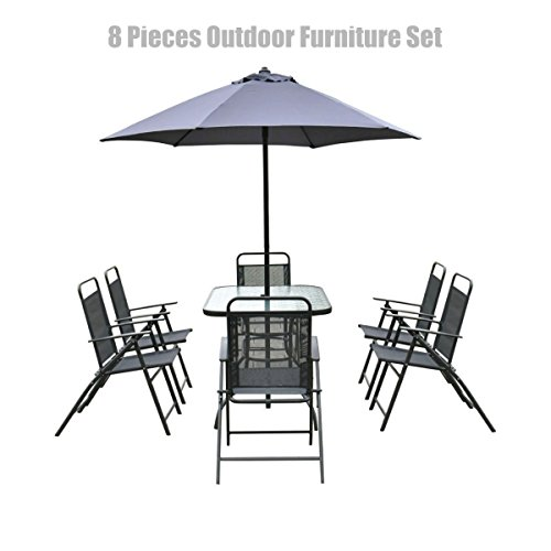 New 8PCS Patio Garden Set Accoutrements 6 Folding Chairs Rectangle Table with Round Umbrella Deep Grey #628c