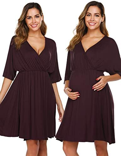 Ekouaer Women's Maternity Dress Nursing Nightgown for Breastfeeding 3 in 1 Labor Delivery Robe - Classic Style