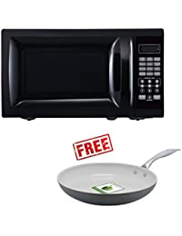 Mainstays Black 700W Output Microwave Oven, With Free Ceramic Non-Stick 12 Classic Hard Anodized Frying Pan