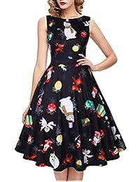 IHOT Vintage 1950's Floral Summer Dress Garden Picnic Party Cocktail Dress