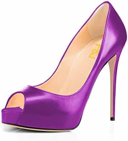 FSJ Women Graceful Peep Toe Pumps High Heels with Platform Slip On Party  Prom Shoes Size cb0dc2644182