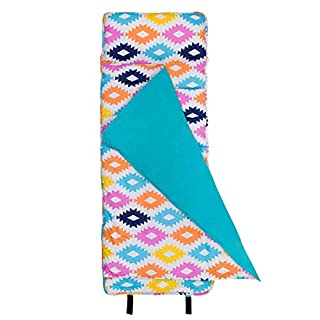 Wildkin Original Nap Mat with Pillow for Toddler Boys and Girls, Ideal for Daycare and Preschool, Measures 50 x 1.5 x 20 Inches, Mom's Choice Award Winner, BPA-Free (Chevron Blue)