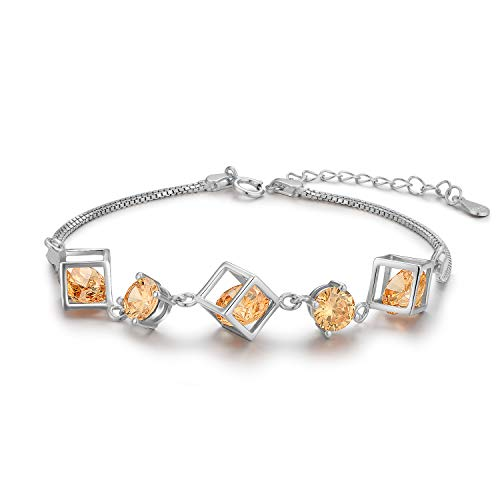 ROYANI Women Cubic Zirconia Bracelet Gold Plated 925 Sterling Silver Bracelets Adjustable Small Wrist Bracelets for womens, Sister, Girls, Baby, Friends, bff bracelets for 2 girls, 21cm Yellow