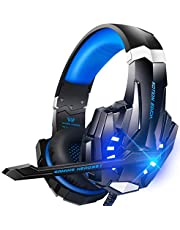 BENGOO G9000 Stereo Gaming Headset for PS4, PC, Xbox One Controller, Noise Cancelling Over Ear Headphones with Mic, LED Light, Bass Surround, Soft Memory Earmuffs for Laptop Mac Nintendo PS3 Games