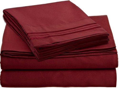 LaxLinens 600 fils cm², drap plat et drap Euro-Super King Taille-Rouge Bordeaux Coton 100%  bois massif
