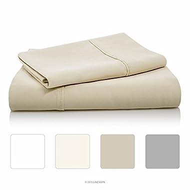 LINENSPA 800 Thread Count Cotton Blend Wrinkle Resistant Sheet Set - Sand - King Size