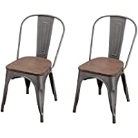 Adeco Metal Stackable Industrial Chic Dining Bistro Cafe Side Chairs, Wooden Seat, Grey (Set of 2)