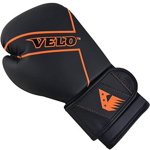 VELO Matte Leather Focus Pads Boxing Gloves Curved Mitts Hook & Jab Target Hand Set Boxing Pads Martial for Men | Women Adults Glove Strike Shield (14oz, Orange)