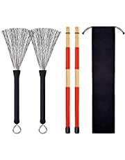 1 Pair Drum Wire Brushes + 1 Pair Rods Drum Brushes + 1pcs Storage Bag for Jazz Acoustic Music Lover Gifts