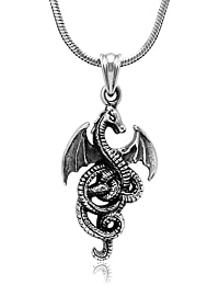 925 Sterling Silver Detailed Medieval Dragon Luck Wisdom and Longevity Pendant Necklace, 18 inches