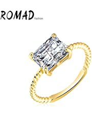 RuleaxAsi Fashion Unique Hot Charm Metal Copper Gold Plated Zircon Rhinestone Crystal Ring for Party Wedding Engagement Jewelry Accessory Women Girl Gift