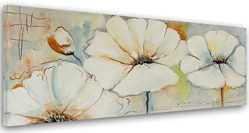 Feeby Cuadro en lienzo - 1 Parte - 40x120 cm, Imagen impresion Pintura decoracion Cuadros de una pieza, NATURALEZA, FLORES, BLANCO