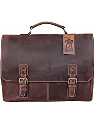 Leather Messenger Bag 15.6 Inch Laptop and Shoulder Bag for Men Women Boston