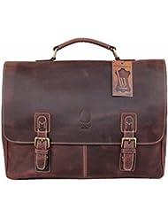 Leather Messenger Bag 15.6 Inch Laptop and Shoulder Bag for Men Women Boston