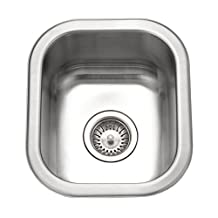 Houzer CS-1307-1 Club 12-7/16-by-14-11/16-Inch Undermount Stainless Steel Bar or Prep Sink