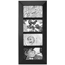 "Malden International Designs Berkeley Beveled Edge Wood 4-Opening 4 x 6"" Collage Black Picture Frames"