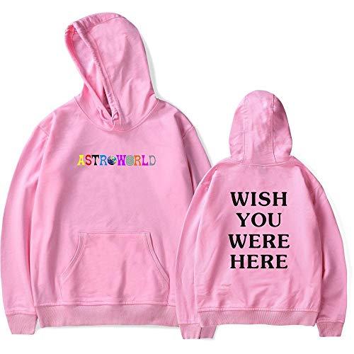 Fashion Unisex Travis Scott Astroworld Hoodies Letter Print Hoodie Streetwear Women Men Pullover Sweatershirt (XL, Pink)