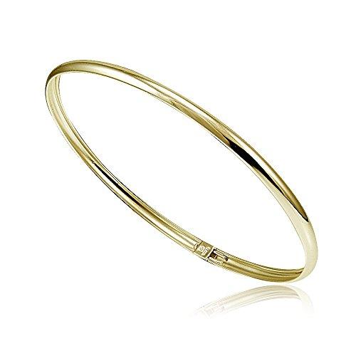 Childrens Flex Bangle Bracelet (Hoops & Loops Flash Plated Gold Sterling Silver Polished Flex Bangle Bracelet)