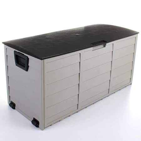 DiscountSeller al Aire Libre jardín baúl de plástico cojín cobertizo de Almacenamiento de plástico Caja de almacenaje con Tapa y Ruedas Case Contenedor ...