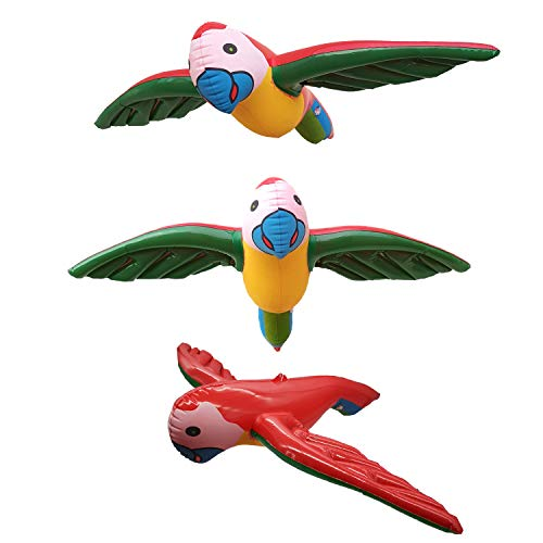 Soplus 3 Pieces Inflatable Flying Parrot Inflatable Parrot Decorations for Tropical Party Gift Luau Decoration -