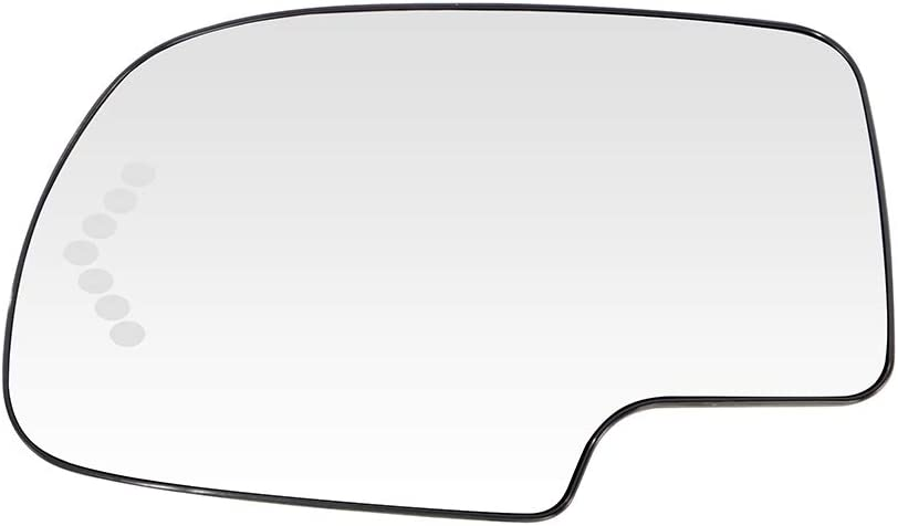 Turn Signal Fit for 2003-06 Chevy Silverado Chevy Tahoe GMC Yukon 2000-05 Chevy Suburban 2005-06 GMC Sierra 1500 HD ANGLEWIDE Driver Side Mirror Glass Heated
