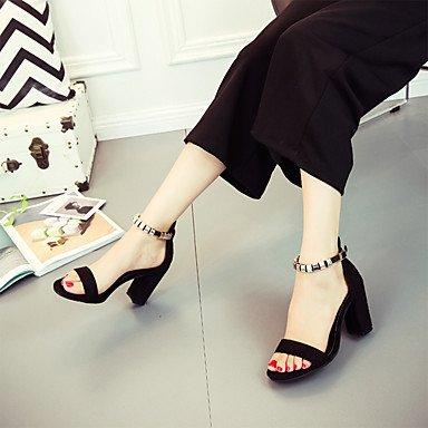 LvYuan Confort Casual Rojo Verano cms Sandalias Negro Black Hebilla Confort 7'5 Mujer Bajo PU Tacón 9'5 Paseo rq04rw