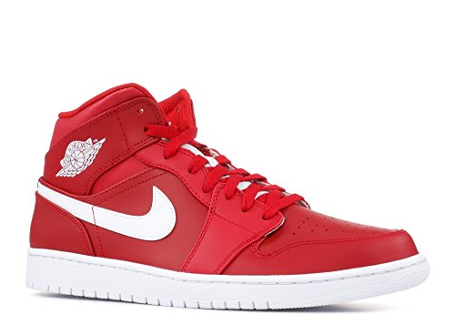 JORDAN MENS AIR JORDAN 1 MID GYM RED WHITE WHITE