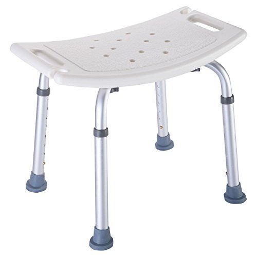 Super buy 8 Height Adjustable Shower Chair Medical Bath Bench Bathtub Stool Seat White New ()