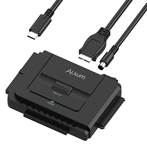 """Alxum IDE SATA Hard Drive Adapter, USB-C Hard Drive Converter for Universal 2.5"""" 3.5"""" SATA and IDE HDD SSD, Support One-Touch Backup Function, Include 12V2A Power Adapter & USB-C Cable, 30CM"""