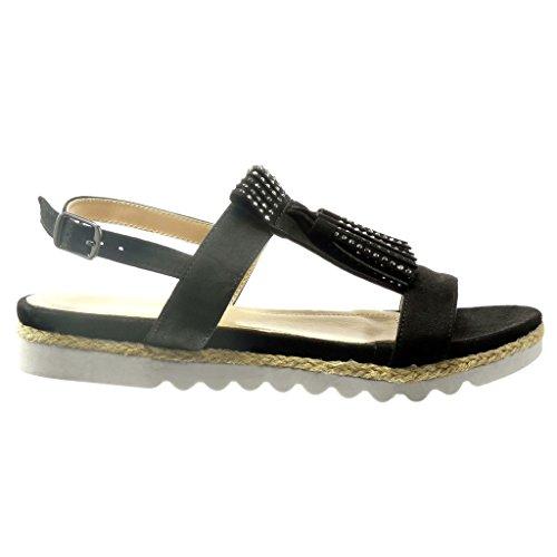Angkorly - Chaussure Mode Sandale Espadrille ouverte femme frange strass diamant Talon compensé 2 CM - Noir