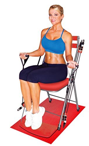 Chair Gym - The Total Body Workout - All in One Compact, Portable and Easy to Use at Home Exercise System Includes 5 Instructional DVDs + Bonus Twister Seat Ab Attachment As Seen on TV - RED
