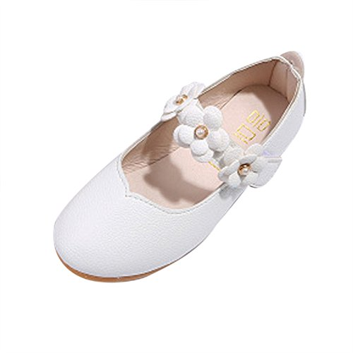 (Toddler Baby Girls Kids Princess Shoes 1-8 Years Old,Children Cut-Outs Pearl Flower Single Casual Flat Shoes (2.5-3 Years Old, White))