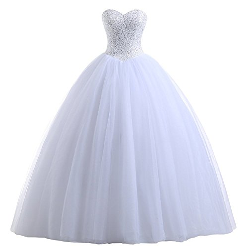 Erosebridal Sweetheart Quinceanera Dress With Beaded Bodice Princess Ball Gown Sweet 16 Dresses US 16 (White Beaded Bodice)
