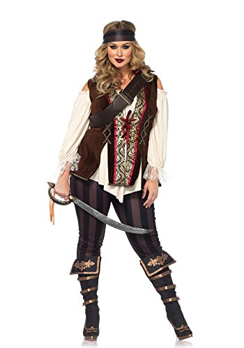 Pirate Lady Plus Size Costumes (Leg Avenue Women's Plus Size Captain Blackheart Costume, Multi, 1X-2X)