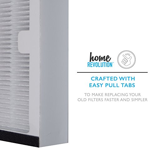 Home Revolution 8 Replacement HEPA Filters, Fits Idylis IAP-10-200 and IAP-10-280 Air Purifiers and Type C Parts 0412555 and IAF-H-100C