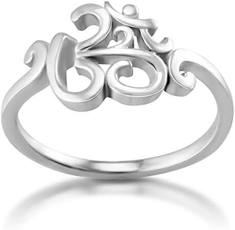 925 Sterling Silver Calligraphy Style Yoga, Aum, Om, Ohm, Sanskrit Ring