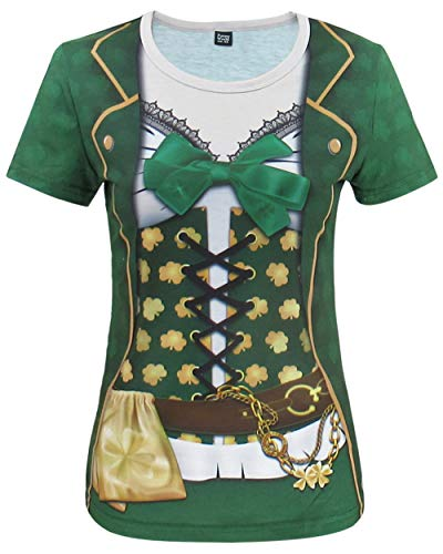 Funny World ST. Patrick's Day Women's Leprechaun Costume Clover T-Shirts (L, Green)