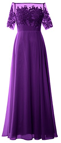 MACloth Women Off Shoulder Mother of Bride Dress Short Sleeve Lace Formal Gown Morado