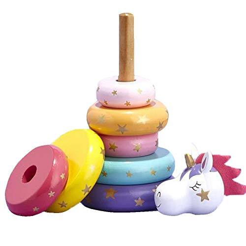 Two's Company Handcrafted Wooden Rainbow Unicorn Stacking Toy