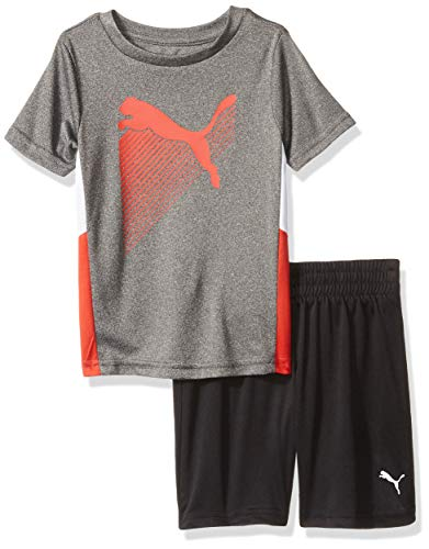 PUMA Toddler Boys' T-Shirt & Short Set, Coal Heather Grey 3T