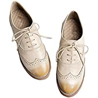 Leather Women Oxford flat shoes lace up causal wing tip shoes brogue boots