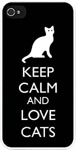Rikki KnightTM Keep Calm and Love Cats Black Color Design iPhone 5 & 5s Case Cover (White Rubber with bumper protection) for Apple iPhone 5 & 5s